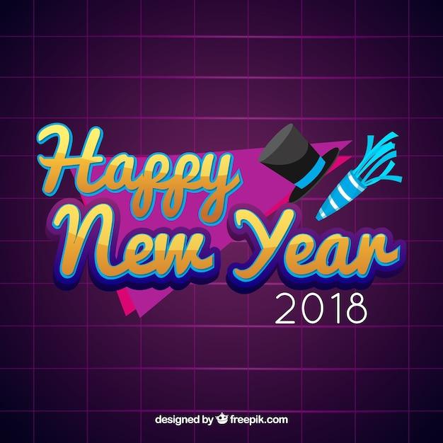Happy new year flat purple background
