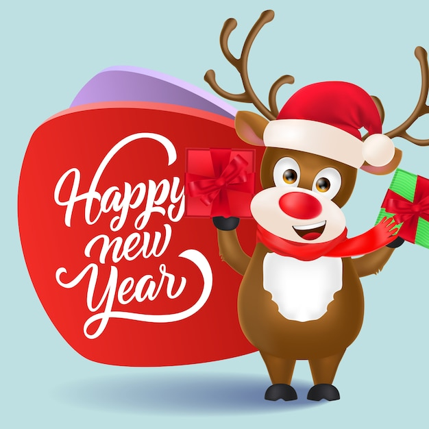Happy new year flyer design. christmas reindeer with gifts ...
