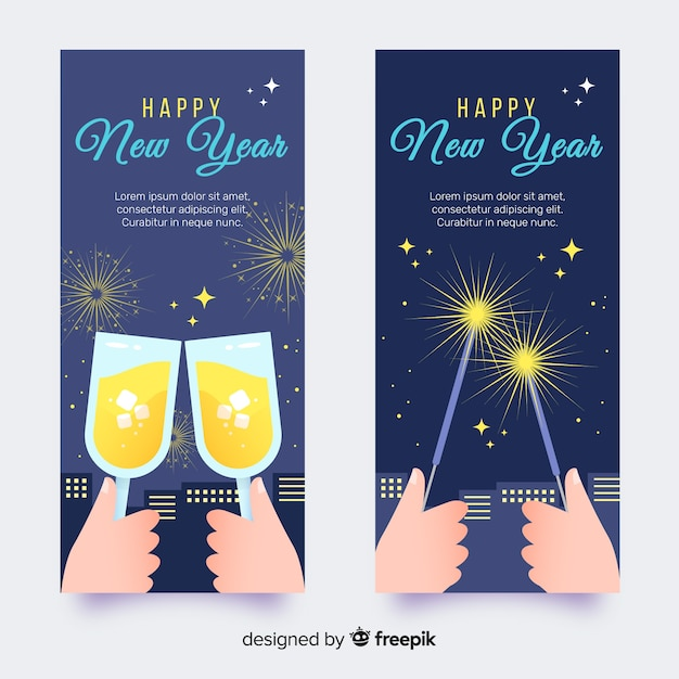 Happy new year flyer Free Vector