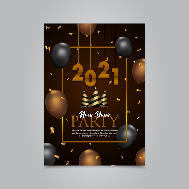 Happy new year flyer Premium Vector