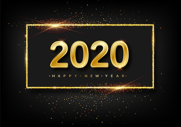 Happy new year  glitter gold fireworks.  golden glittering text and 2020 numbers with sparkle shine for holiday greeting card. Premium Vector