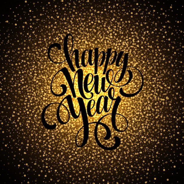 Happy new year glowing background, greeting card Premium Vector