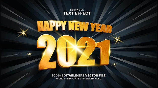 Happy new year gold text effect Free Vector