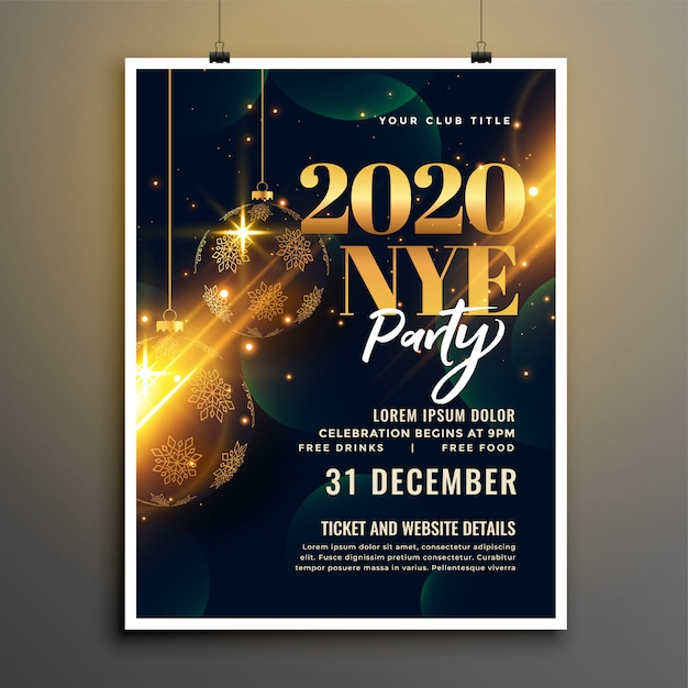 Happy new year golden and black flyer or poster template Free Vector