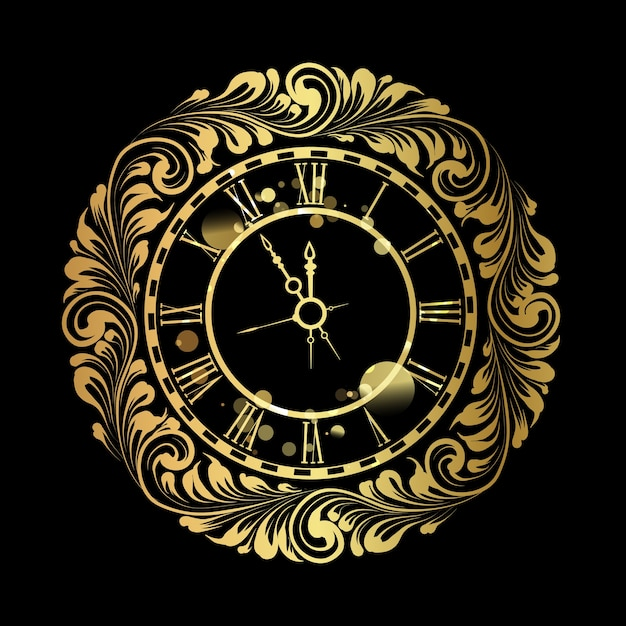 С новым годом золотые часы на черном фоне. Бесплатные векторы