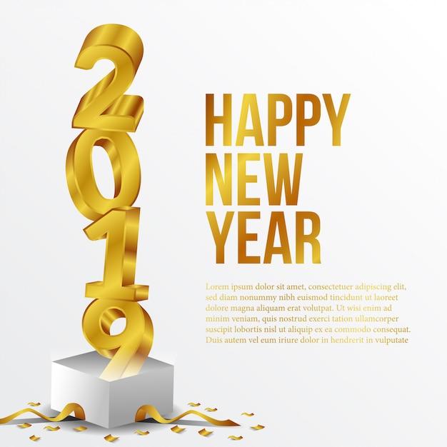 Happy new year golden number Premium Vector