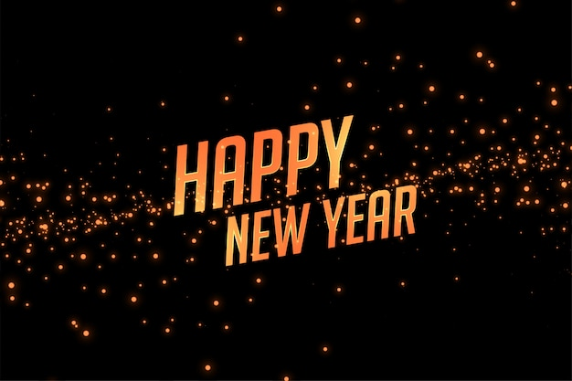 Happy new year golden sparkle background Free Vector