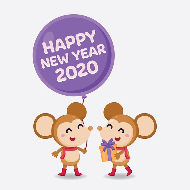 Happy new year greeting card 2020 with cute rats | Premium ...