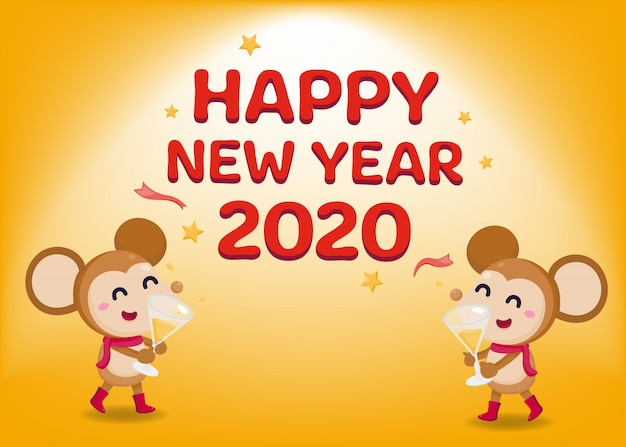 Happy New Year Greeting Card 2020 With Cute Rats Vector