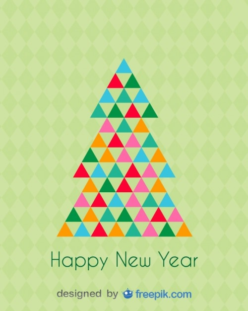 Happy new year greeting card of a christmas tree Free Vector