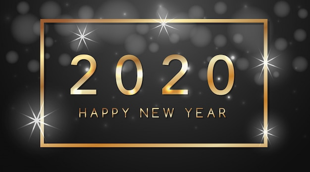 Happy new year greeting card design for 2020 Free Vector