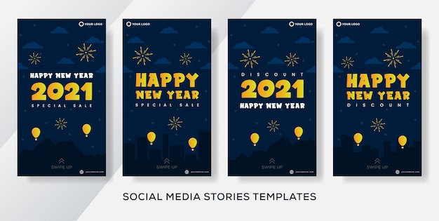 Instagramの物語のための新年あけましておめでとうございますグリーティングカード Premiumベクター