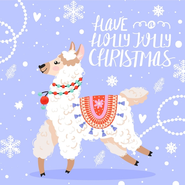 Happy new year greeting card. llama with christmas decorations. Premium Vector