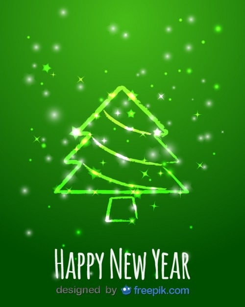 happy new year greeting card of magic christmas tree free vector