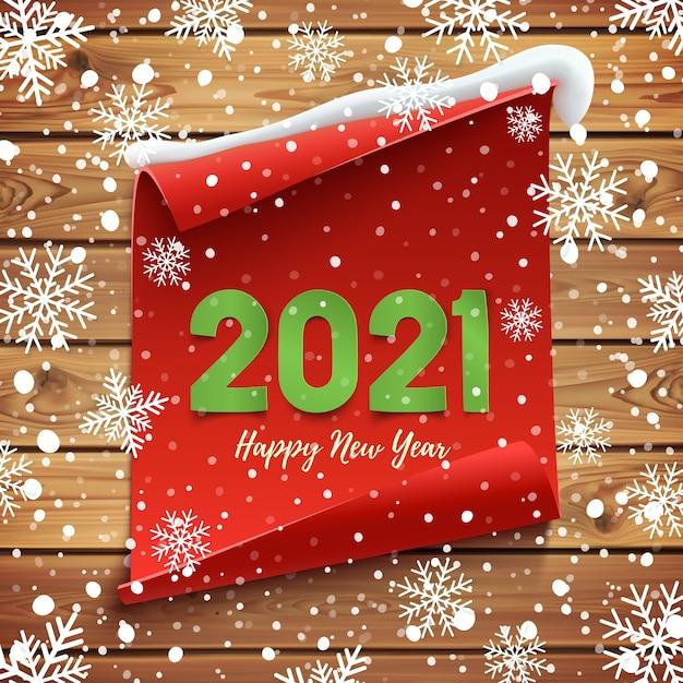 새 해 복 많이 인사말 카드입니다. 눈과 눈송이와 나무 판자에 빨간색 곡선 된 배너. 프리미엄 벡터
