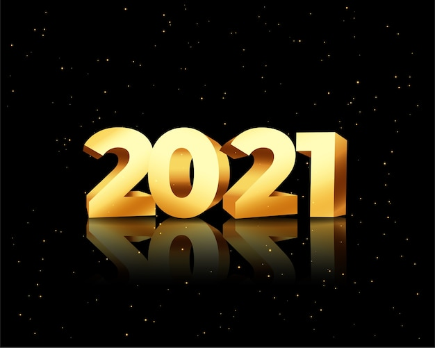 Happy new year greeting card with 2021 golden numbers on black Free Vector