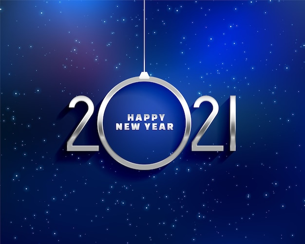Free Vector Happy New Year Greeting Card With 2021 Metals Numbers And A Shape Of Christmas Ball