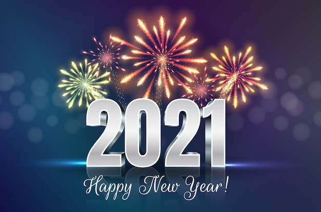 Premium Vector | Happy new year greeting card with 2021 ...