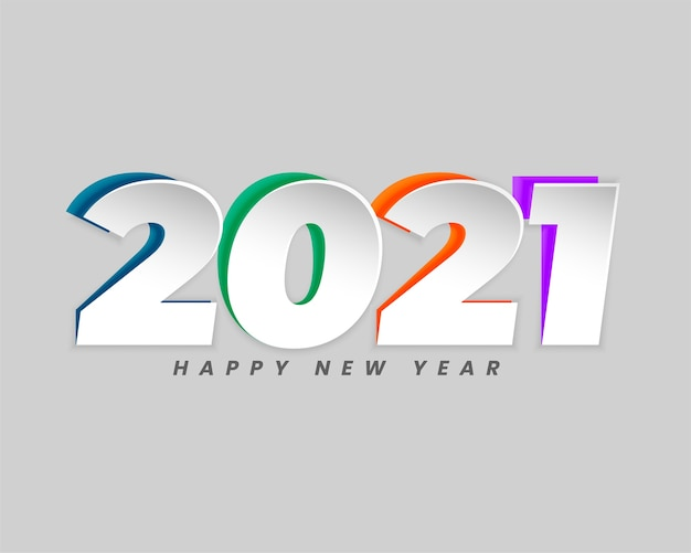 Free Vector Happy New Year Greeting Card With 2021 Numbers In Paper Cut Style Design