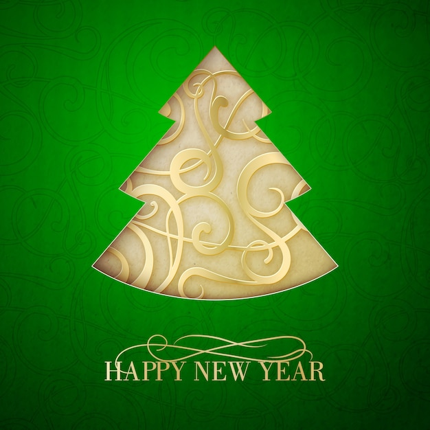 Happy new year greeting card with abstract tree Free Vector