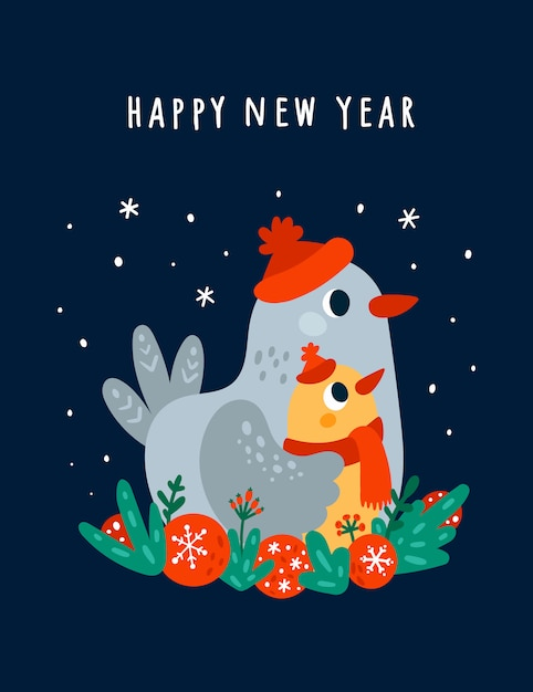 Happy new year greeting card with cute birds Premium Vector
