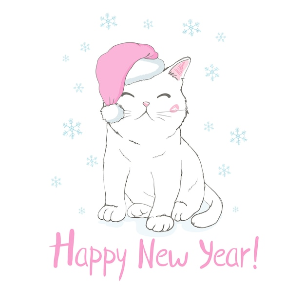 Happy new year greeting card with cute funny cat face in santa claus hat Premium Vector