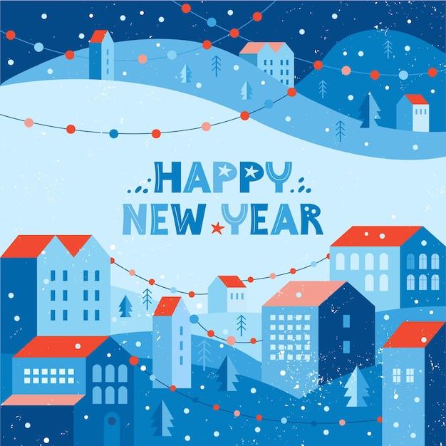 花輪で飾られた冬の雪の街のイラストと新年あけましておめでとうございますグリーティングカード。都市景観 Premiumベクター
