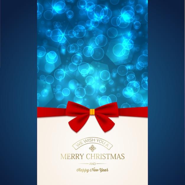 밝은 빛나는 별에 비문 및 빨간 리본 활과 행복 한 새 해 인사 카드 무료 벡터