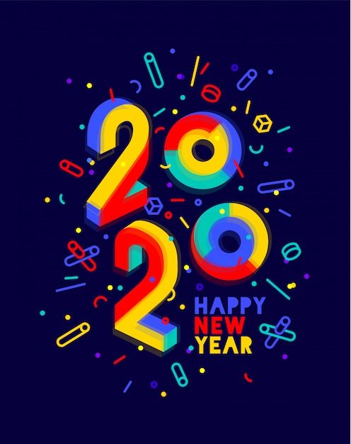 , happy new year. greeting card with inscription happy new year. geometric bright style for happy new year or merry christmas. holiday background, poster.  illustration Premium Vector