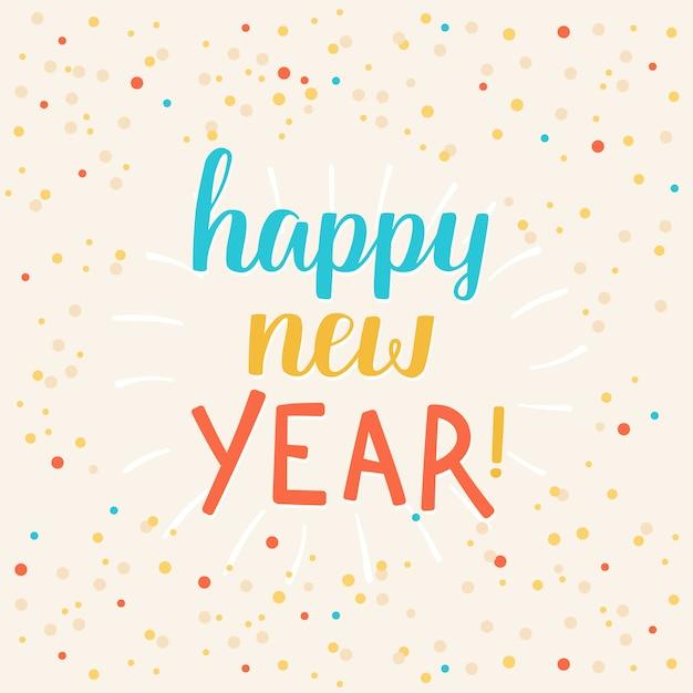 Happy new year greeting card Premium Vector