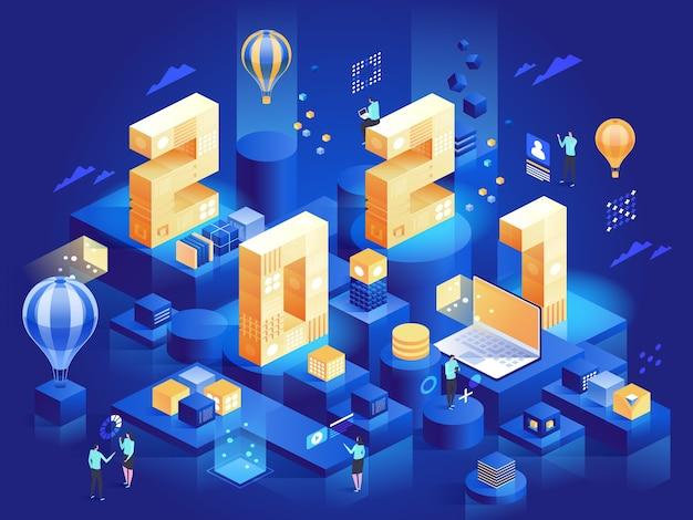 ビジネスコンセプトの幸せな新年のご挨拶。プラットフォーム上のオフィスシンボルのある巨大な番号:ラップトップのデータ分析、キャリア、同僚の会議。キャラクターイラスト等角図 Premiumベクター