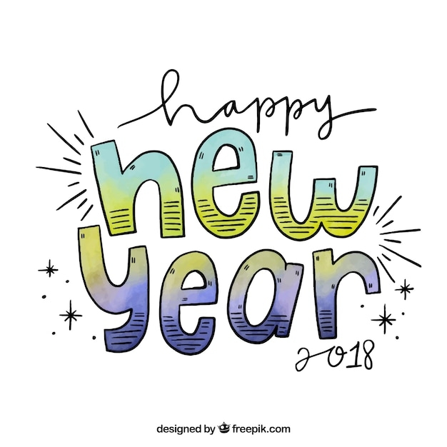 Happy new year in hand drawn letters Vector | Free Download