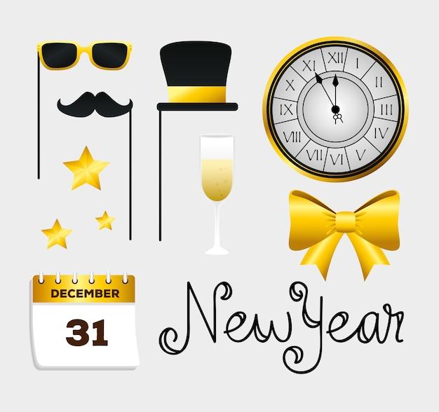새 해 복 많이 받으세요 아이콘 세트 디자인, 환영 축 하 및 인사말 프리미엄 벡터