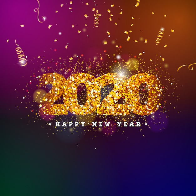 Happy new year illustration with shiny number and falling confetti Premium Vector