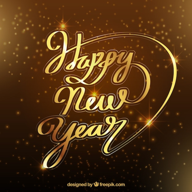 Happy new year in beautiful golden lettering Vector | Free Download