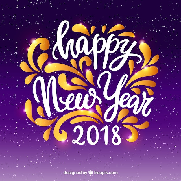 happy new year in lettering on a purple background free vector