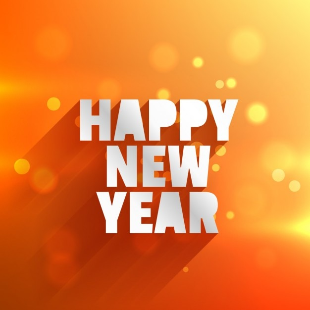 happy new year in orange bokeh background Free Vector