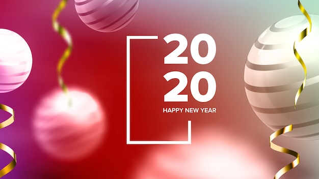 Happy new year invite banner Premium Vector