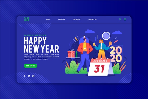 Happy new year landing page template Free Vector