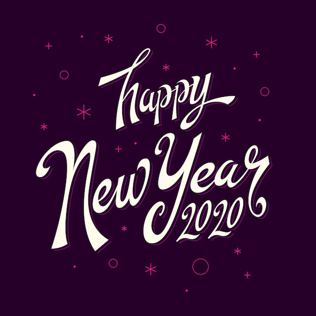 Happy new year lettering  2020 Free Vector