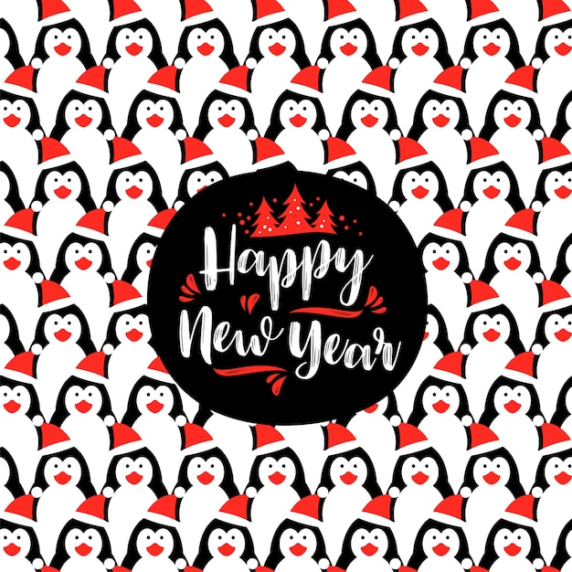 Happy New Year Lettering Designs With Penguin Background Vector Elements Premium