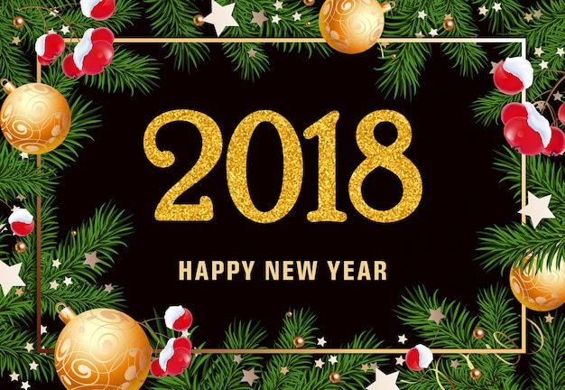 Happy New Year Lettering In Frame Vector Free Download