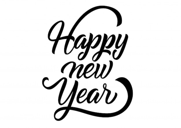 happy new year lettering handwritten inscription with swirls free vector