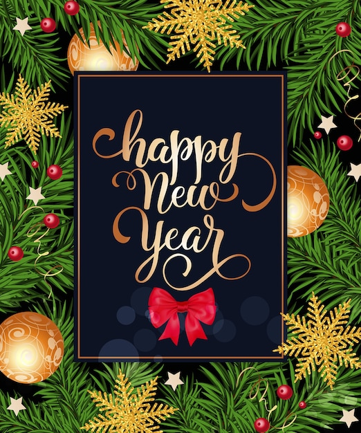 Happy New Year Lettering In Frame With Bow Vector Free