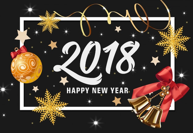 Happy new year lettering with baubles and bells vector