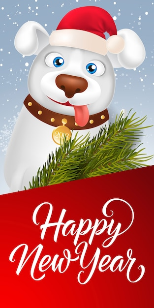 happy new year lettering with cartoon dog free vector