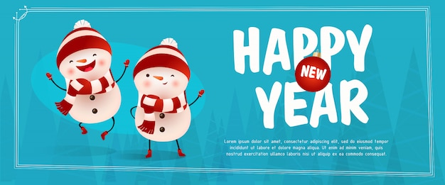 Happy new year lettering with cheerful snowmen Free Vector