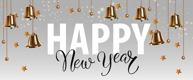 Happy new year lettering with gold bells Free Vector