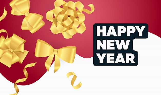 Happy new year lettering with golden ribbon bows Free Vector