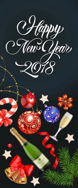 Happy New Year Lettering With Party Symbol Vector Free Download